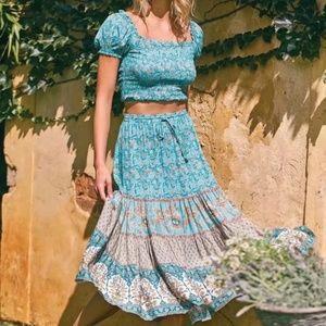 Boho Chic Gypsy Floral Print Maxi Skirt